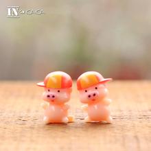 2pcs New home micro garden miniature Decoration anime Pink Pig animal Action Figure Toy Pig 3D Models toys terrarium DIY props