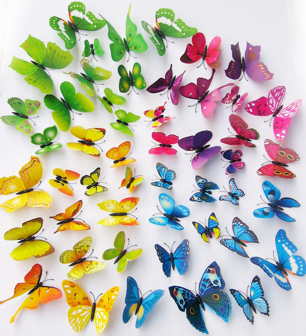 Simulation decorative butterfly vinyl wall stickers home for 3d wall butterfly decoration