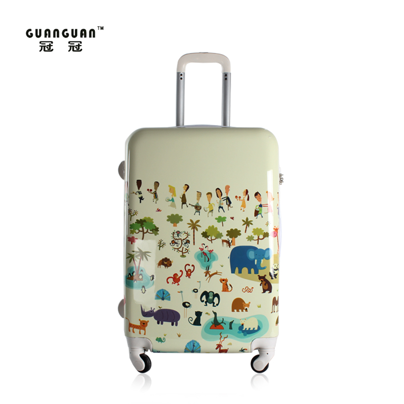 Abs trolley luggage pc cartoon female universal wheels bag password lock