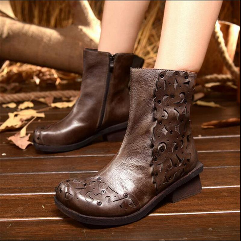 Spring and autumn women boots genuine leather handmade boots national trend carved high quality ankle boots casual women shoes<br><br>Aliexpress