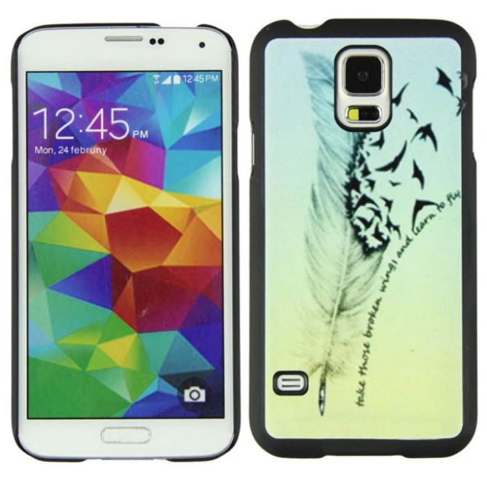 Hot marketing New Hipster Feather Fly Birds Plastic Case Cover For Samsung Galaxy S5 I9600(China (Mainland))