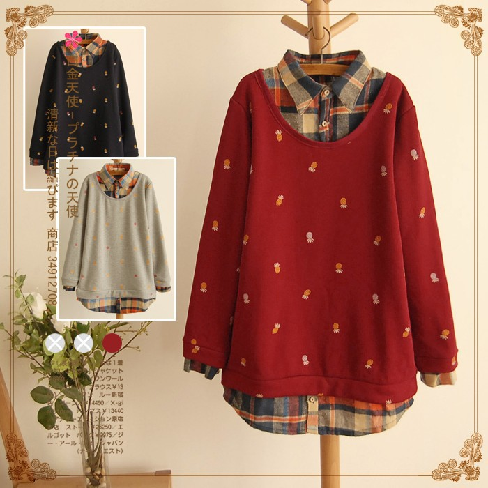 Women clothing Winter small pineapple printing plus size women loose line leave two backing Plaid casual tshirt woman coat DM316(China (Mainland))