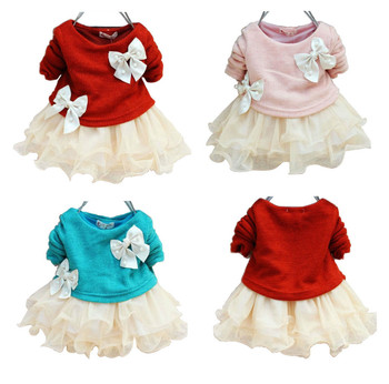 autumn new fashion knitting baby girl lace flower princess dresses
