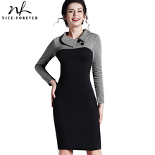 Nice-forever Elegant Vintage Fitted winter dress full Sleeve Patchwork Turn-down Collar Button Business Sheath Pencil Dress b238(China (Mainland))