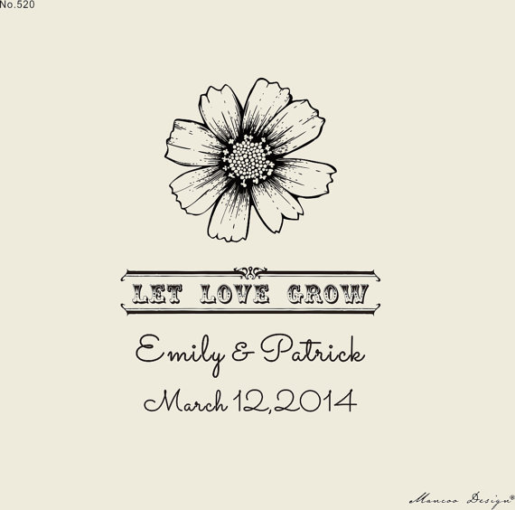 """custom Stamps (2.5"""" x2"""" ) Let Love Grow sunflower Stamp Seed Favor Favor Idea - Custom Rubber Stamp(China (Mainland))"""