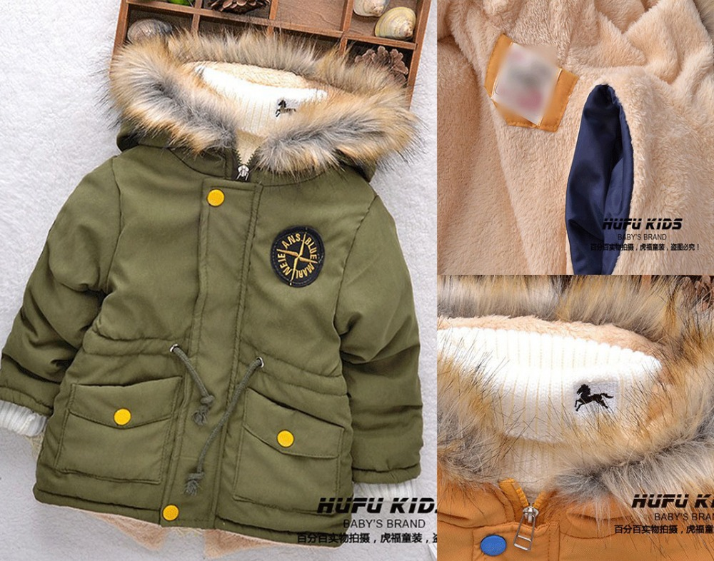 2015 High Quality Baby Boys Autuamn Winter Coats Thicken Warm Cashmere 2-5 Age Kids Hooded Outerwear Children Infant Down Jacket(China (Mainland))