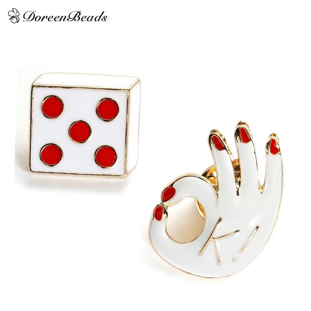 2016 Fashion Enamel Sports OK/ dice Zinc Alloy Brooch Pins Jewelry Accessories 1 Piece(China (Mainland))