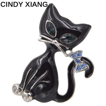 CINDY XIANG Unisex Black Color Enamel Cat Brooches Women Men Brooch Pins Animal Style Jewelry CZ Rhinestone Coat Backpack Badges