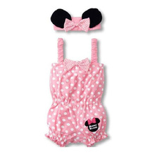 Baby Girl Rompers(0-2y)  Retail Wholesale Baby Girls Minne set (Jumpsuit+Headdress) new born baby clothes Set/Lot(China (Mainland))
