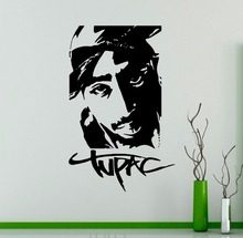 Buy Tupac 2PAC Vinyl Sticker Rap Hip Hop Music Wall Decal Dorm Studio Bar Teen Room Home Interior Decor American Singer Pop Mural for $11.69 in AliExpress store