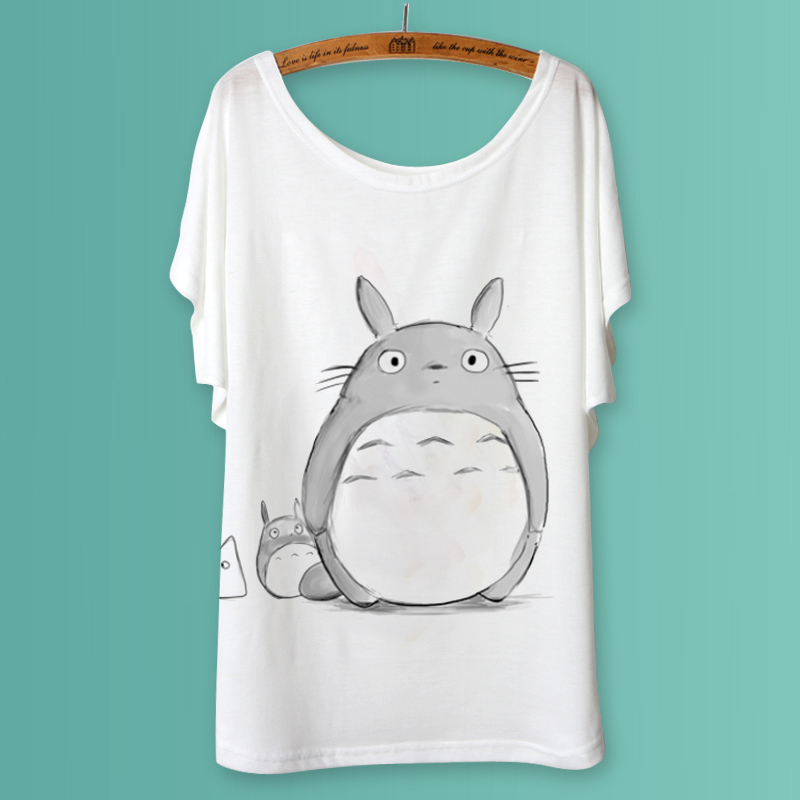 Totoro Animal Print T Shirt Women 2015 Summer Ladies Tops Batwing Sleeve poleras de camiseta Mujer White Casual Tee Shirts Femme(China (Mainland))