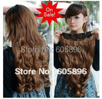 "Free Shipping-Big sale Fashion  5 clip-in hair extension 20""  long curl hairpiece 12 colors-can use heat-high quality"