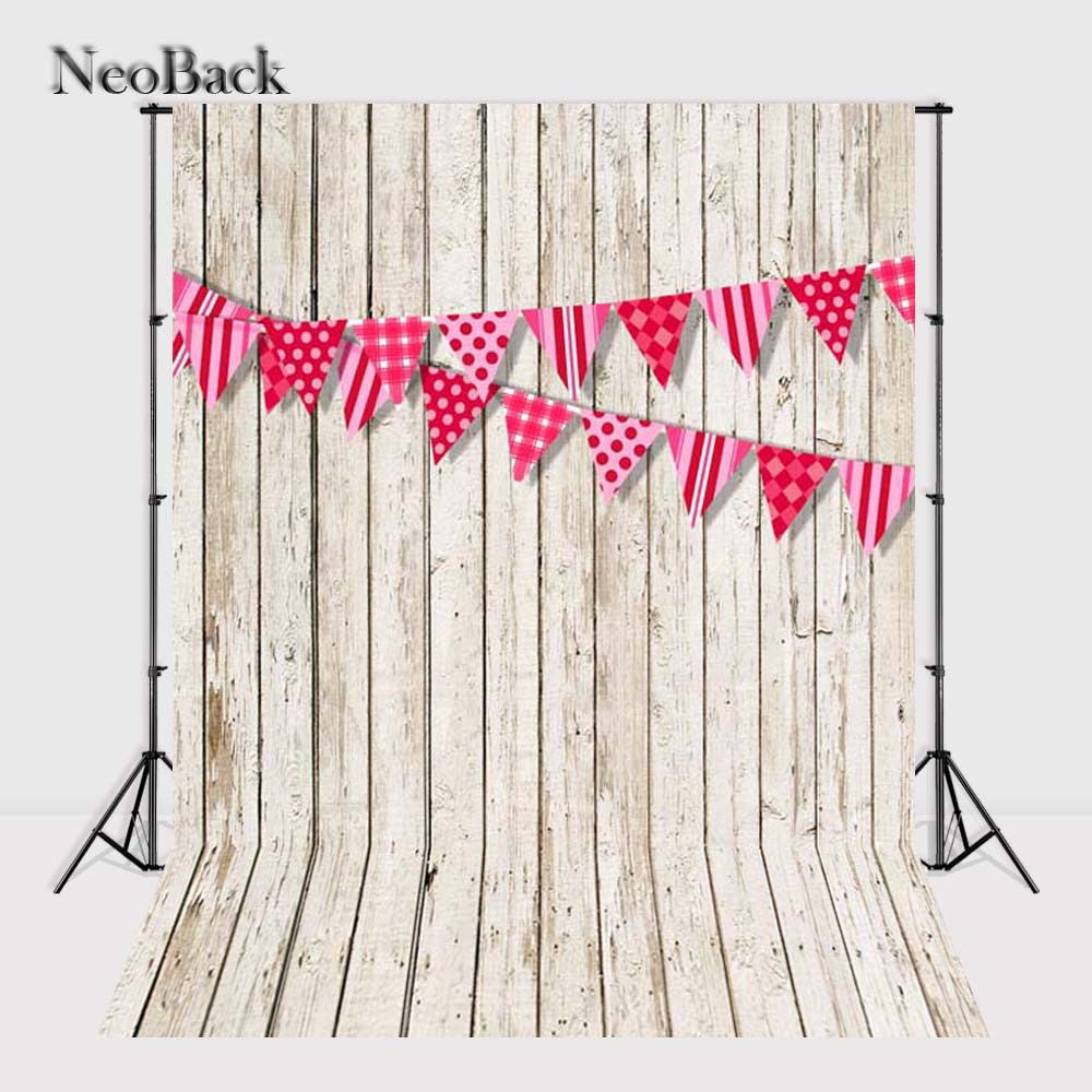 NeoBack Vinyl Cltoh fondos printed new born baby flags photo backgrounds pink white wood tone children Photo backdrops P0957(China (Mainland))