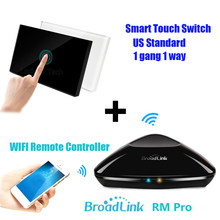 Broadlink RM PRO Universal Intelligent Remote Controller + US AU Std 1 Gang ON/OFF Wireless Touch Light Switch For IOS Android