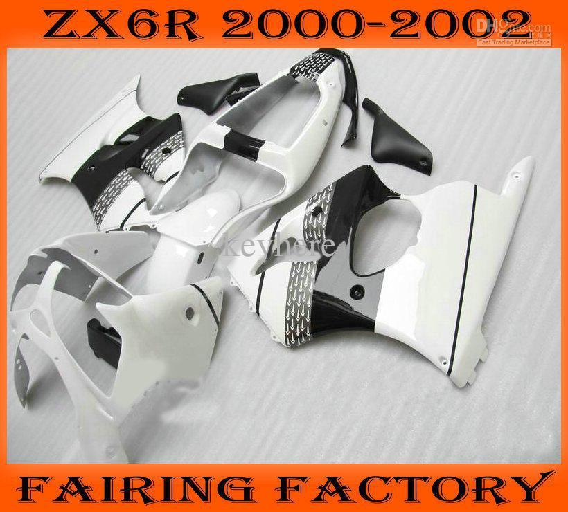 White Moto Race ABS fairings kit for Kawasaki ZX6R 2000 2001 2002 00 01 02 aftermarket(China (Mainland))