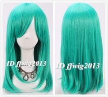 FREE SHIPPING 50cm Long Teal green straight  girls women synthetic Anime Cosplay Wig +free wig cap(China (Mainland))