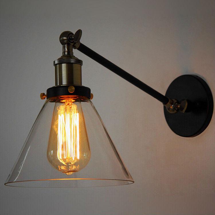 Retro Village Wall Lamp Iron Metal Material Transparent Glass Lamp Shade Angle Adjustable Bedroom Corridor Bar Loft Restaurant<br><br>Aliexpress