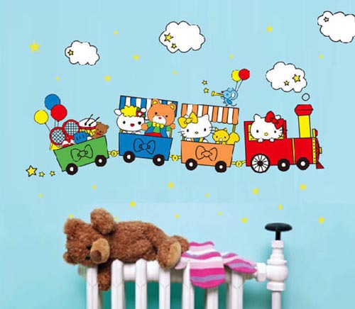 mural wall paper Train Happy Travel sticker on the wall Vinyl wall stickers for kids baby game classrooms wall decals(China (Mainland))