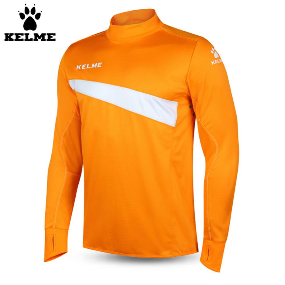 Kelme K15Z304 Men Soccer Jerseys Polyester Stand Collar Sharkskin Training Long-sleeved Pullover Orange(China (Mainland))