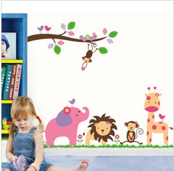 Three generations of animal child real wall stickers sticker