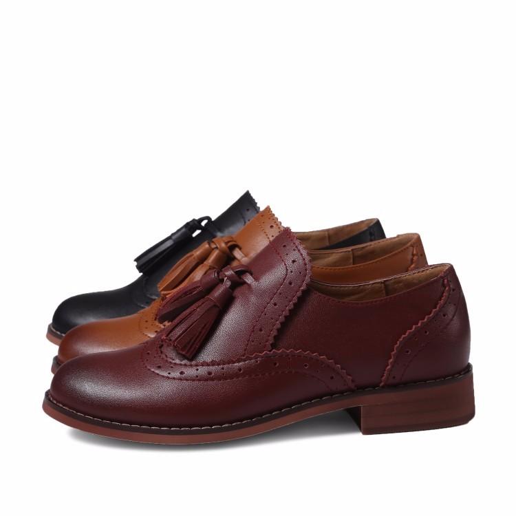 Genuine leather Oxford Shoes Woman flats Brown,black 2017 Fashion Tassel Vintage British style Brogue Oxford shoes women flats