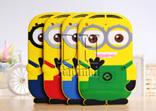 Fashional New Arrival Cute Cartoon Model Despicable Me Yellow Minion Silicon Material Case Stand Cover For ipad Mini 1 2 3(China (Mainland))