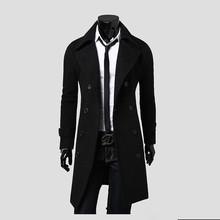 Double Breasted Wool Overcoat Men's Long Turn-Down Collar European Style Luxury Gray Black Woolen Coat Male Chaqueta Hombre Lana