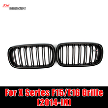 X5 X6 Carbon Fiber Framed Dual Slat Grill Front Kidney Grille Fit for BMW F15 F16 Bumper with M Emblem Matte Black 2015 2016(China (Mainland))