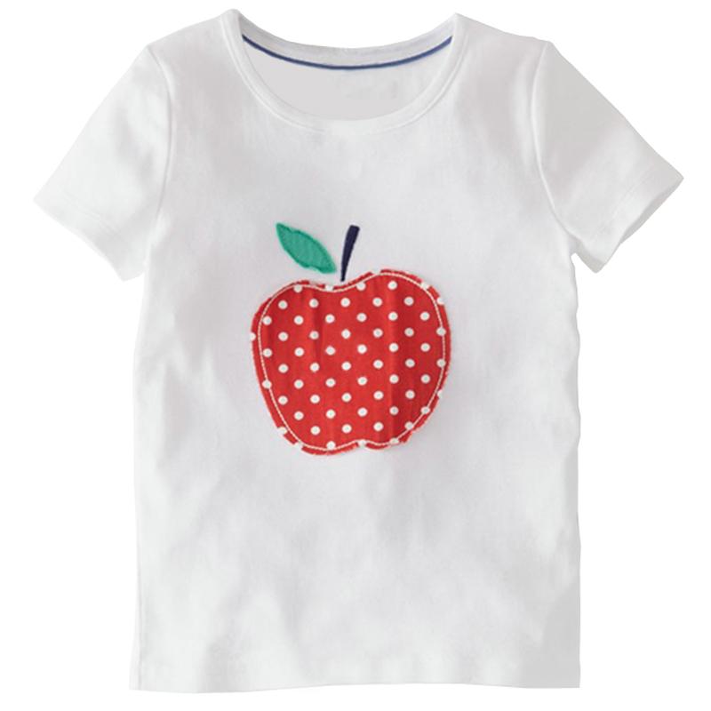 18 Months-6T Baby Girls T-Shirt Summer Children's Tops Clothing Cute Fruit Apple Creative Kids T-Shirt(China (Mainland))