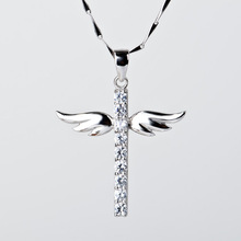 2014 Angel Wings Cross Pendant genuine 925 Sterling Silver Necklace high quality rhinestone necklace women free shipping(China (Mainland))