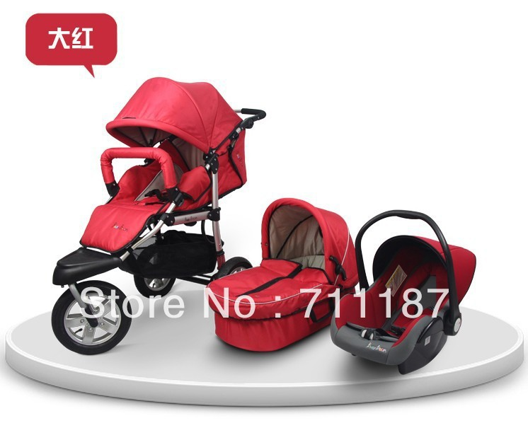 Domestic Luxury Baby Stroller 3 In 1,Comfortable Convenient Umbrella Baby Buggy Good Quality With Car Seat Safety&amp;Baby Carrycot<br><br>Aliexpress