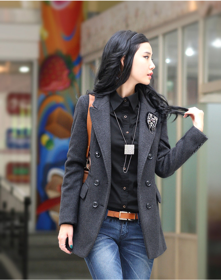 Autumn winter women plus size wool female coat medium-long slim woolen suit jacket - bingwen chen's store