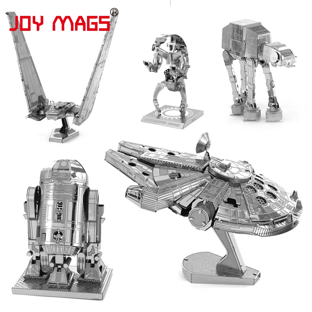 JOY MAGS Star Wars Millennium Falcon Metal Earth R2D2 Robot Troop dog Rebels Shuttle 3D Metal Model Kit