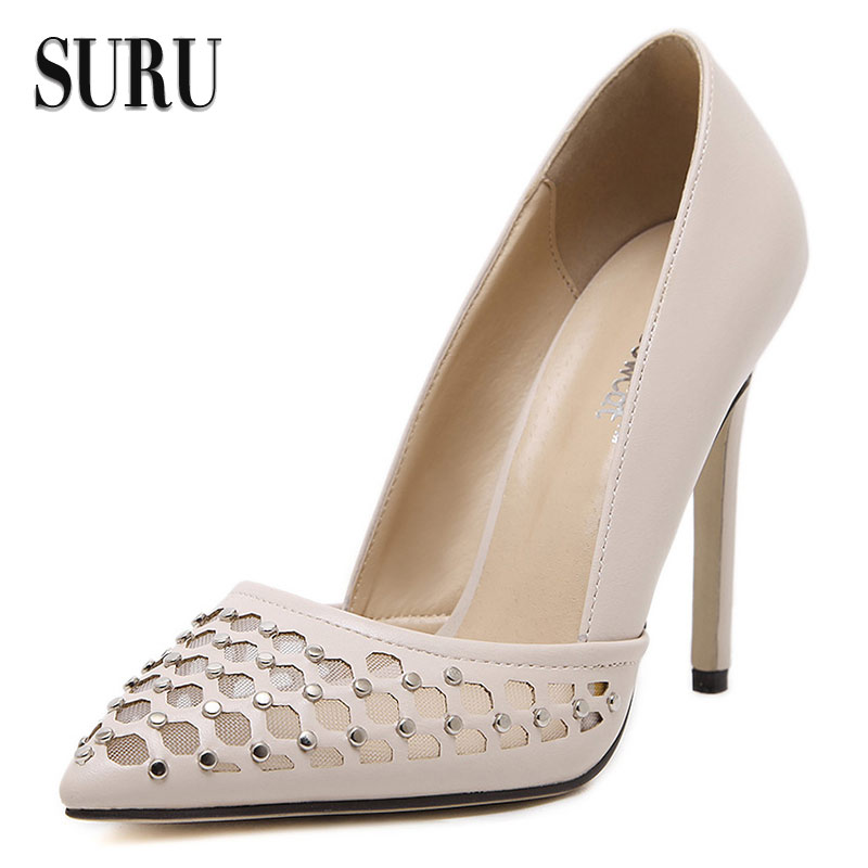 SURU - best vogue cut-outs rivets high heels women sheos pointy toe stilettos 11cm heel pumps JJC05<br><br>Aliexpress