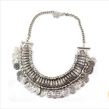 2014 New Wholesale Women's Fashion Silver Coins Pendant Statement Bib Chunky Charm Choker Necklace statement Necklaces