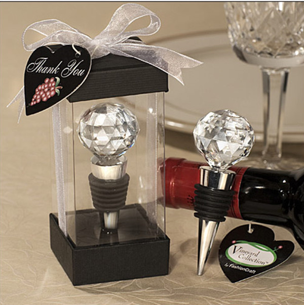100pcs/lot wedding favor Wedding Souvenirs Gift Crystal Ball Elegant Red Wine Bottle Stoppers party souvenir FREE SHIPPING(China (Mainland))