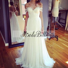 Buy Romantic Bohemian Lace Shoulder Wedding Dress Boho Chic Bridal Dresses Beach Weddings Cheap Simple Vestido Novia Hippie for $122.20 in AliExpress store