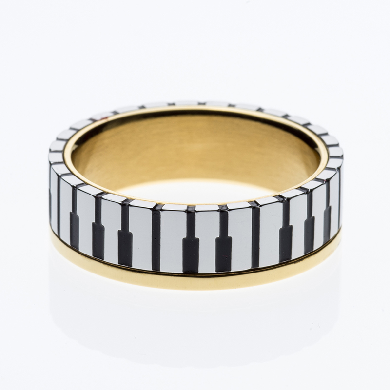 7mm Wide Men Womens 18K Gold Plated Music Piano Keyboard Wedding Band Ring For Music Lovers