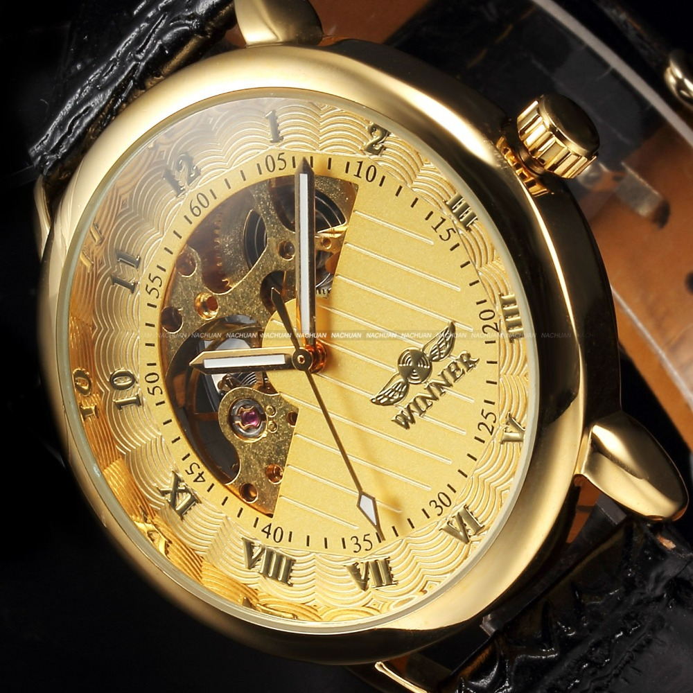 wind up watch promotion shop for promotional wind up watch on top brand winner watch men luxury gold skeleton hand wind mechanical watches men s fashion leather wristwatches montre homme