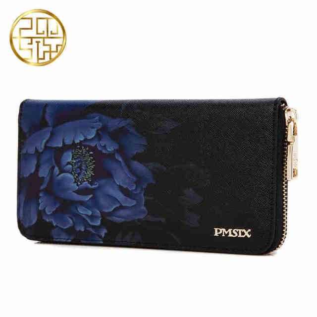 Pmsix 2016 Новый Цветок Печати Китайский Ветер Скот Сплит Кожаный Бумажник Кошелек На Молнии Большой Емкости Длинные Дамы Старинные Сцепления Бумажник