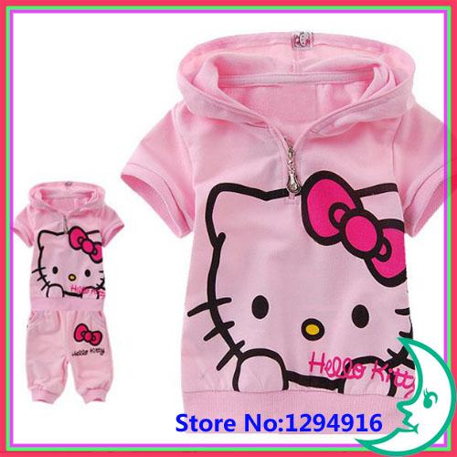 2013 New hot Girls Suit Children's clothing set kids suit Hello Kitty suit KT cartoon cat Shirt+Pants 2Pcs Retail(China (Mainland))