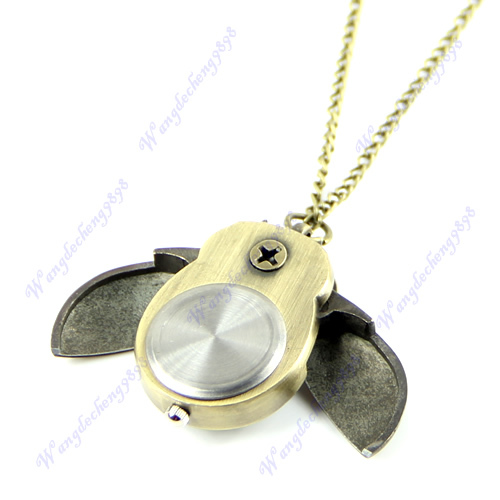 On Sale On Sale 1pc Bronze Cute Open Close Wing Owl Pendant Necklace Chain Quartz Pocket