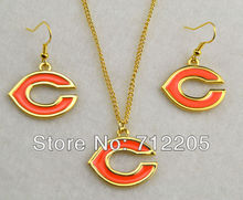 5set a lot fashion T008 Chicago Bears gold Plated Necklace Earring Set  sport jewelry(China (Mainland))