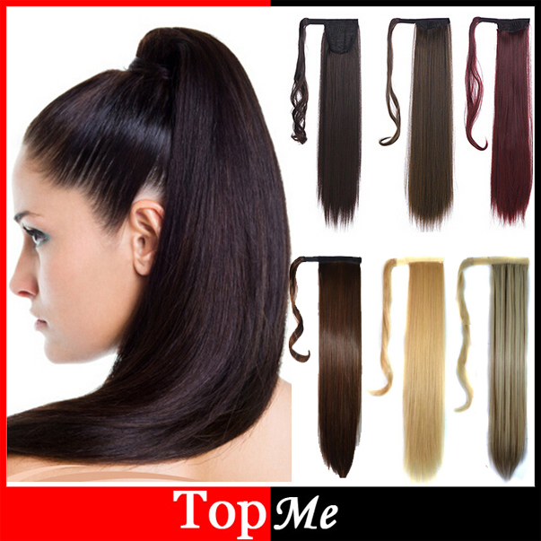 "Woman Ponytail Fashion Hairpiece 22"" 55cm Long Magic Paste Straight Synthetic Lady Ponytails Hairs Extension Girls Pony Tail(China (Mainland))"