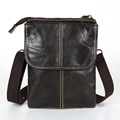 Vintage Dark Coffee 100 Guarantee Real Genuine Leather Mini Men Messenger Bags Men Shoulder Bag Cowhide