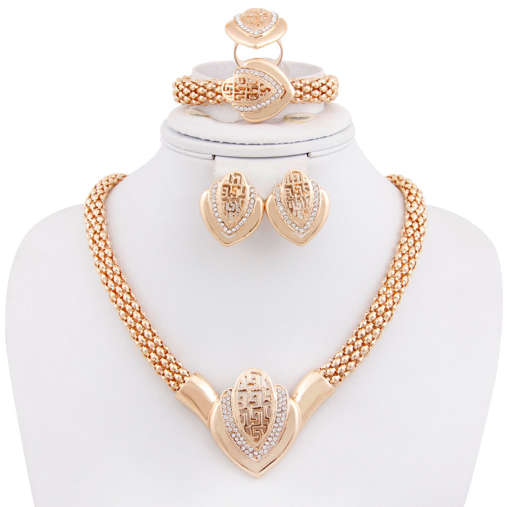 African Gold Plated Mysterious Charming Fashion Romantic Bridal Fashion Necklace Crystal Vintage Women Costume Jewlery Sets(China (Mainland))