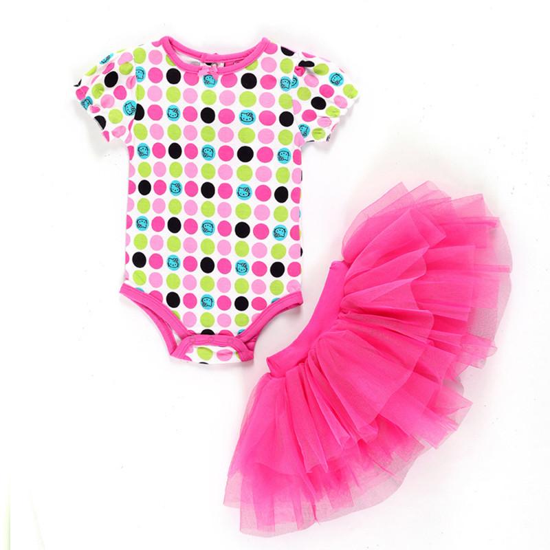 2016 Summer Set Baby Girls Sets Clothes Baby Set Short-Sleeve Romper+Tutu Lace Skirt Newborn Cotton Jumpsuit Skirt Suit V20(China (Mainland))