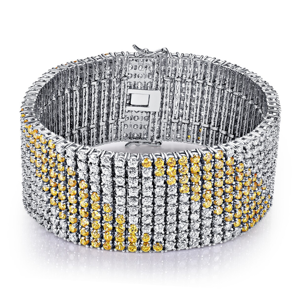 CQueen Lucury Jewelry Wedding Gift Bracelets Citrine White CZ Diamond 18K White Gold Plated Fashion Bracelet for Women Wholeslae