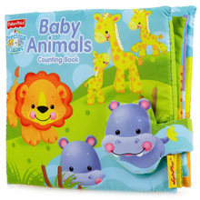 21*21cm Animal Counting Book Tearproof Color Picture 3D Cloth book baby Book early eduction development toy Free Shipping(China (Mainland))