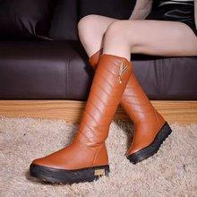 Nuevo Descuento Girls Señora Estilo Sólido Hasta La Rodilla de Plataforma Plana de Alta botas llamativo Punta Redonda Zapatos Femeninos Warm Nieve de la Piel de Largo botas(China (Mainland))
